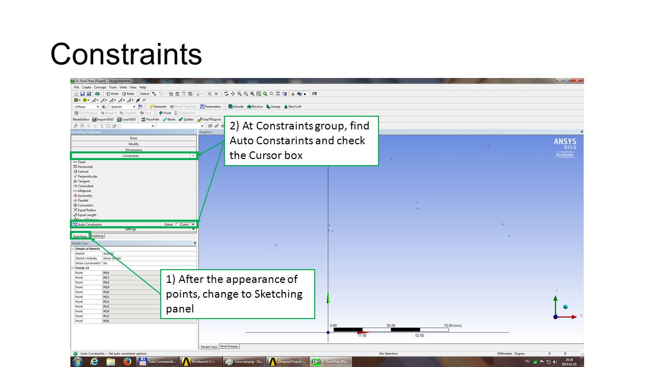 Constraints 2) At Constraints group, find Auto Constarints and check the Cursor box 1) After the appearance of points, change to Sketching panel