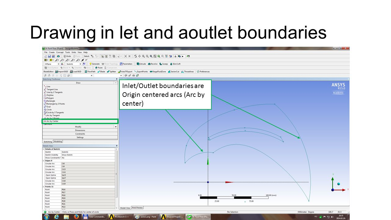 Drawing in let and aoutlet boundaries Inlet/Outlet boundaries are Origin centered arcs (Arc by center)