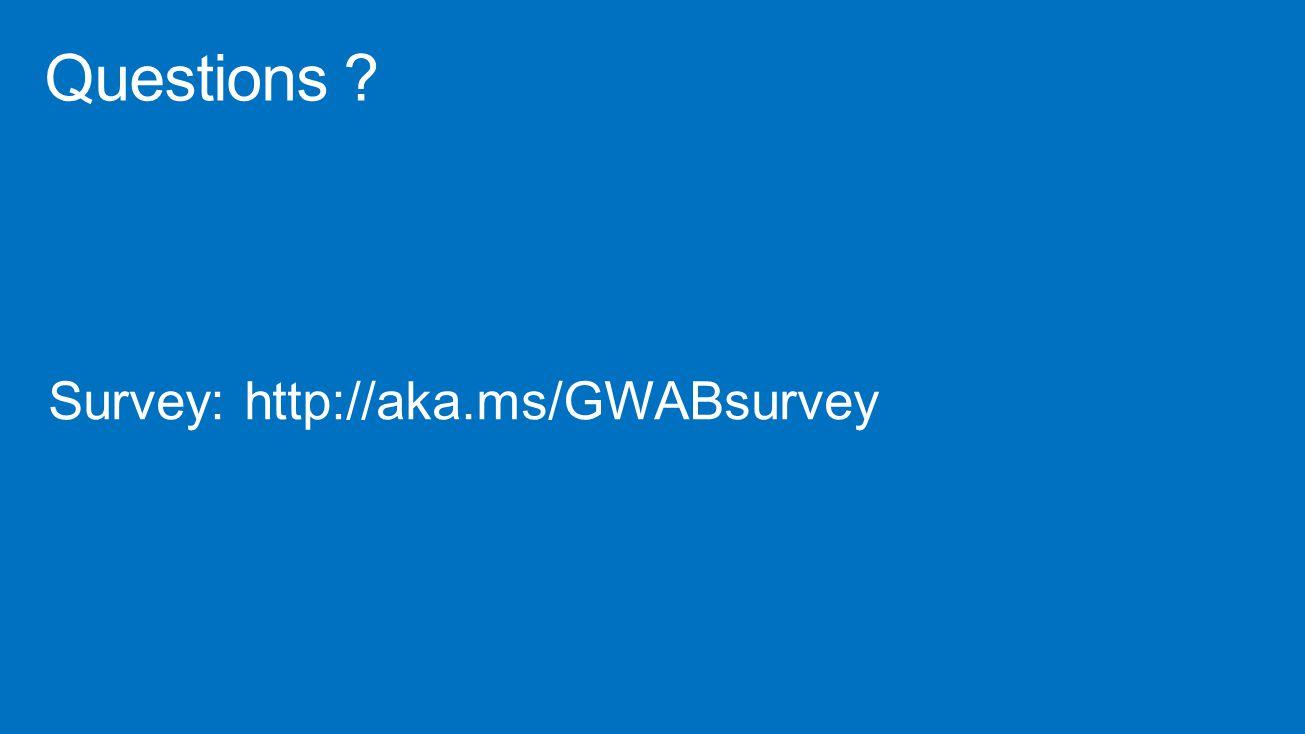 Questions Survey: http://aka.ms/GWABsurvey