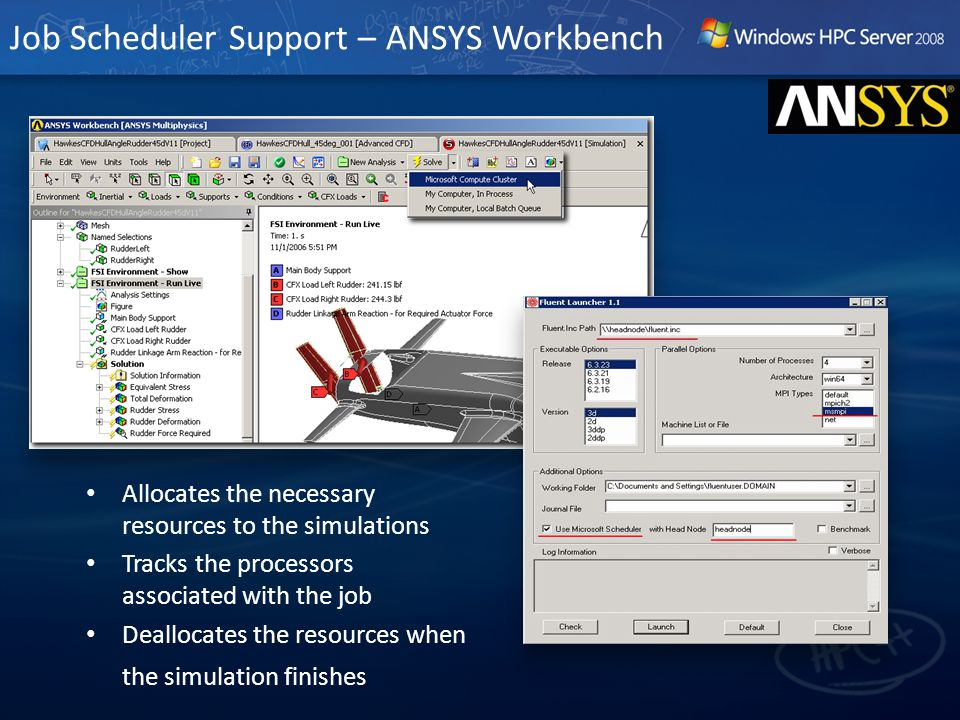 Job Scheduler Support – ANSYS Workbench Allocates the necessary resources to the simulations Tracks the processors associated with the job Deallocates