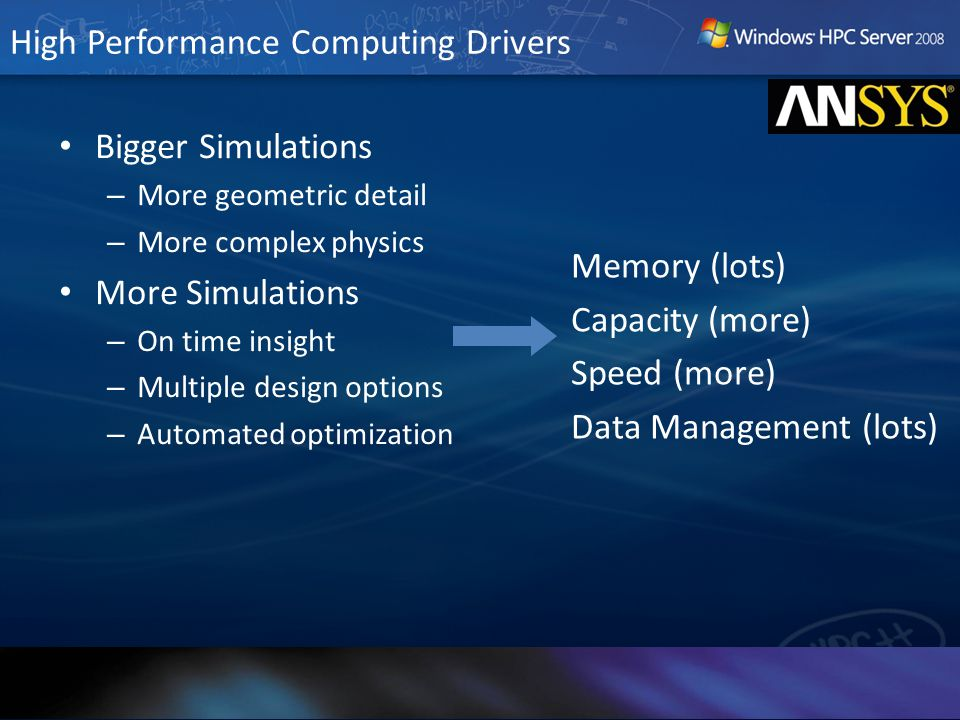 High Performance Computing Drivers Bigger Simulations – More geometric detail – More complex physics More Simulations – On time insight – Multiple des