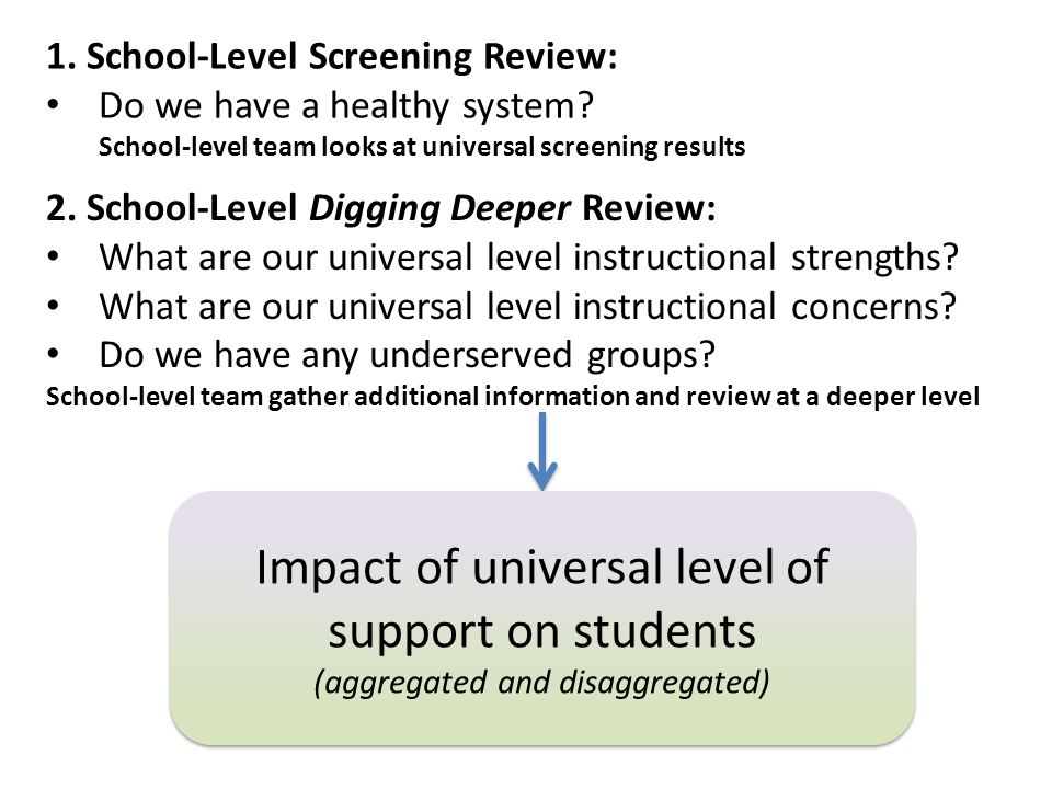 Impact of universal level of support on students (aggregated and disaggregated) Impact of universal level of support on students (aggregated and disag