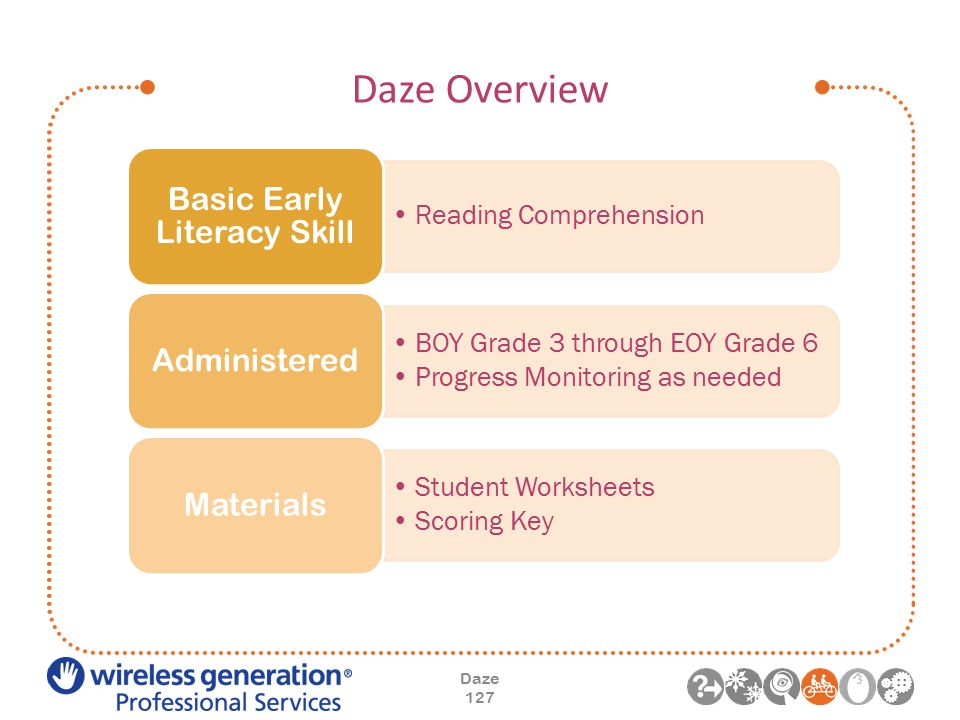 Daze Overview Daze 127 Reading Comprehension Basic Early Literacy Skill BOY Grade 3 through EOY Grade 6 Progress Monitoring as needed Administered Student Worksheets Scoring Key Materials