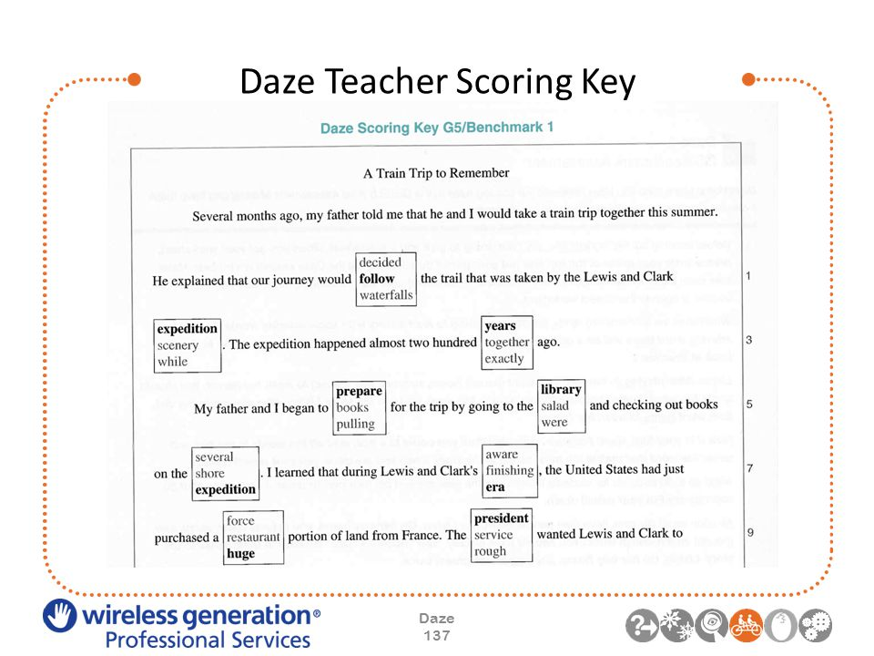 Daze Teacher Scoring Key Daze 137