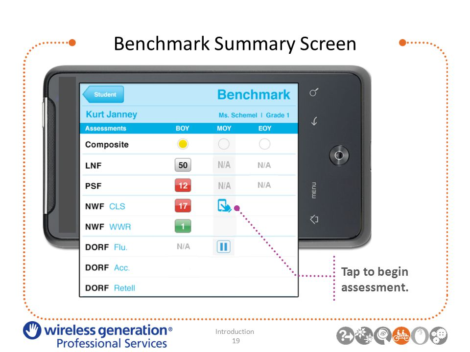 Benchmark Summary Screen Introduction 19 Tap to begin assessment.