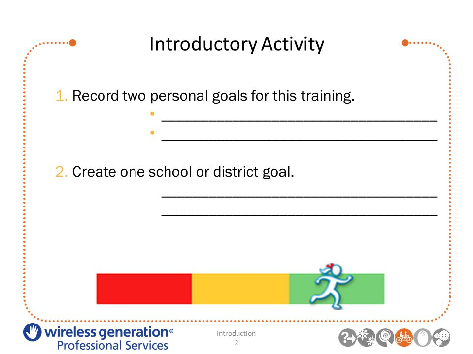 Introductory Activity Introduction 2 1. Record two personal goals for this training.