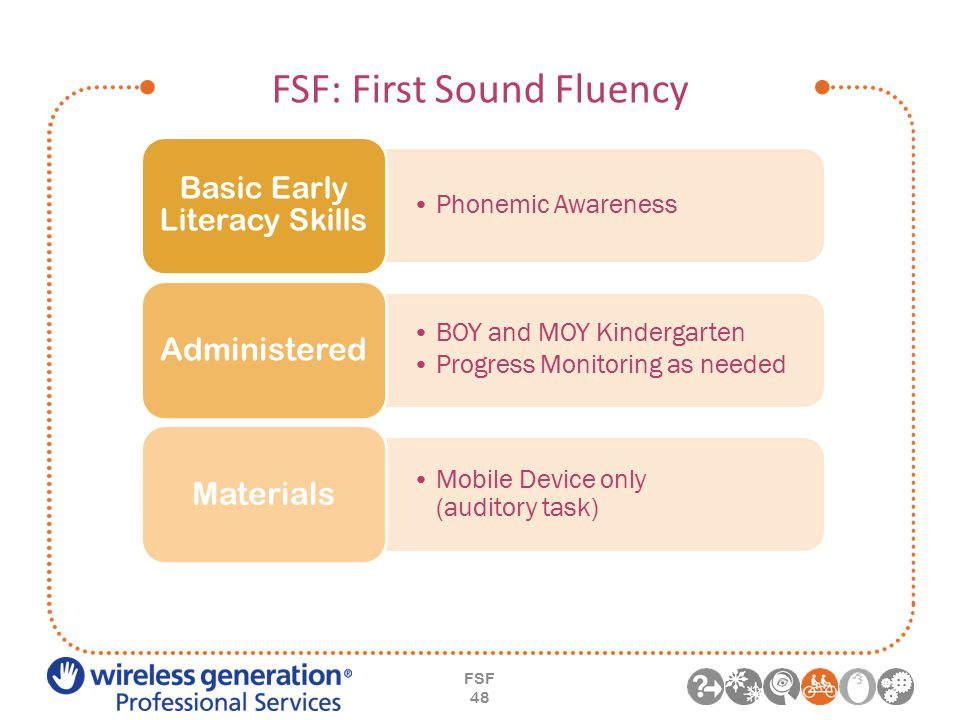 FSF: First Sound Fluency FSF 48 Phonemic Awareness Basic Early Literacy Skills BOY and MOY Kindergarten Progress Monitoring as needed Administered Mobile Device only (auditory task) Materials