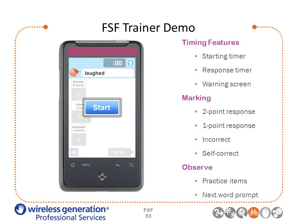 FSF Trainer Demo FSF 53 Timing Features Starting timer Response timer Warning screen Marking 2-point response 1-point response Incorrect Self-correct Observe Practice items Next word prompt