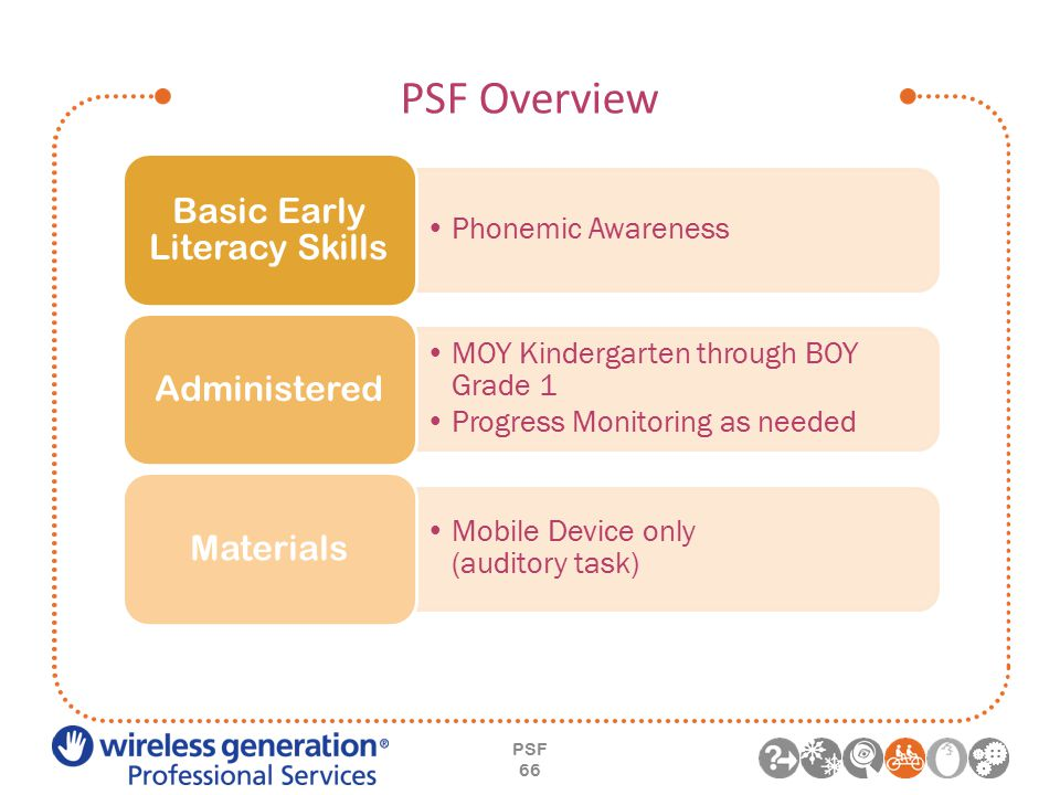 PSF Overview PSF 66 Phonemic Awareness Basic Early Literacy Skills MOY Kindergarten through BOY Grade 1 Progress Monitoring as needed Administered Mobile Device only (auditory task) Materials