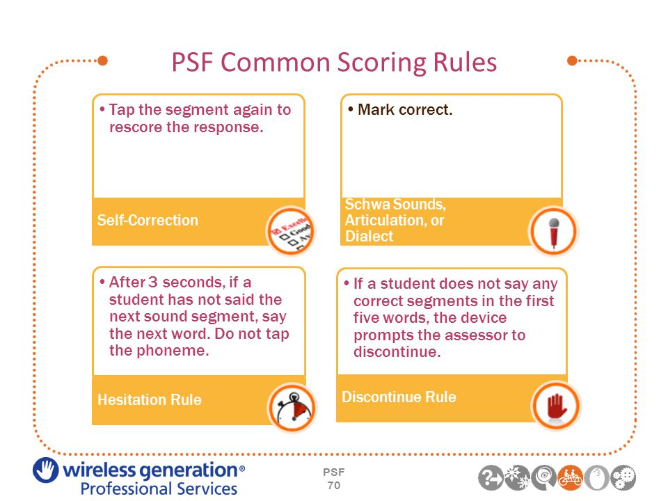 PSF Common Scoring Rules PSF 70 Tap the segment again to rescore the response.