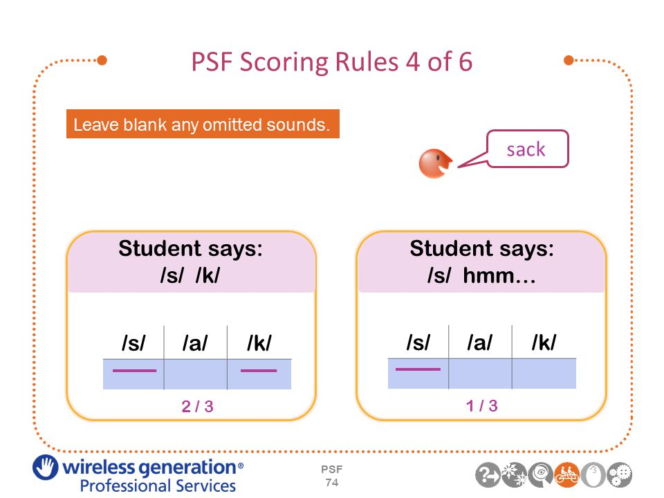 PSF Scoring Rules 4 of 6 PSF 74 Leave blank any omitted sounds.