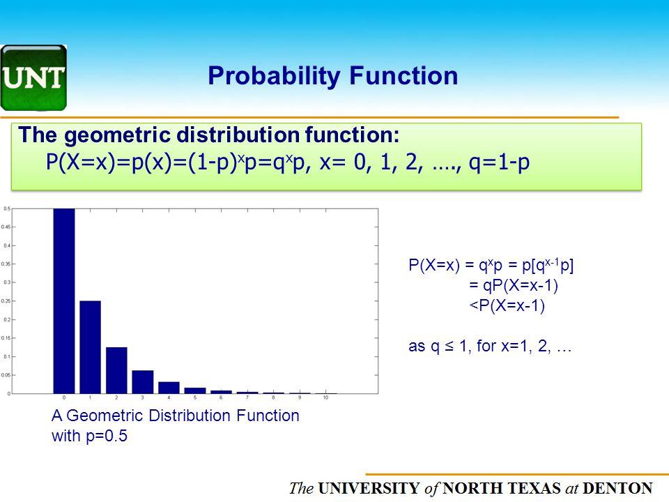 The UNIVERSITY of NORTH CAROLINA at CHAPEL HILL The geometric distribution function: P(X=x)=p(x)=(1-p) x p=q x p, x= 0, 1, 2, …., q=1-p The geometric