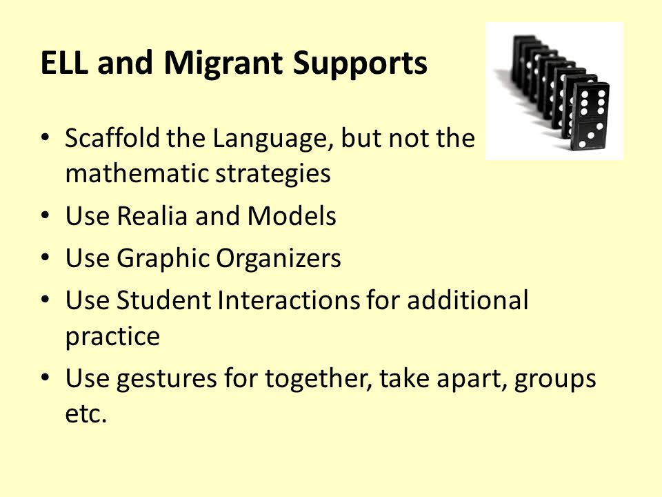 ELL and Migrant Supports Scaffold the Language, but not the mathematic strategies Use Realia and Models Use Graphic Organizers Use Student Interactions for additional practice Use gestures for together, take apart, groups etc.
