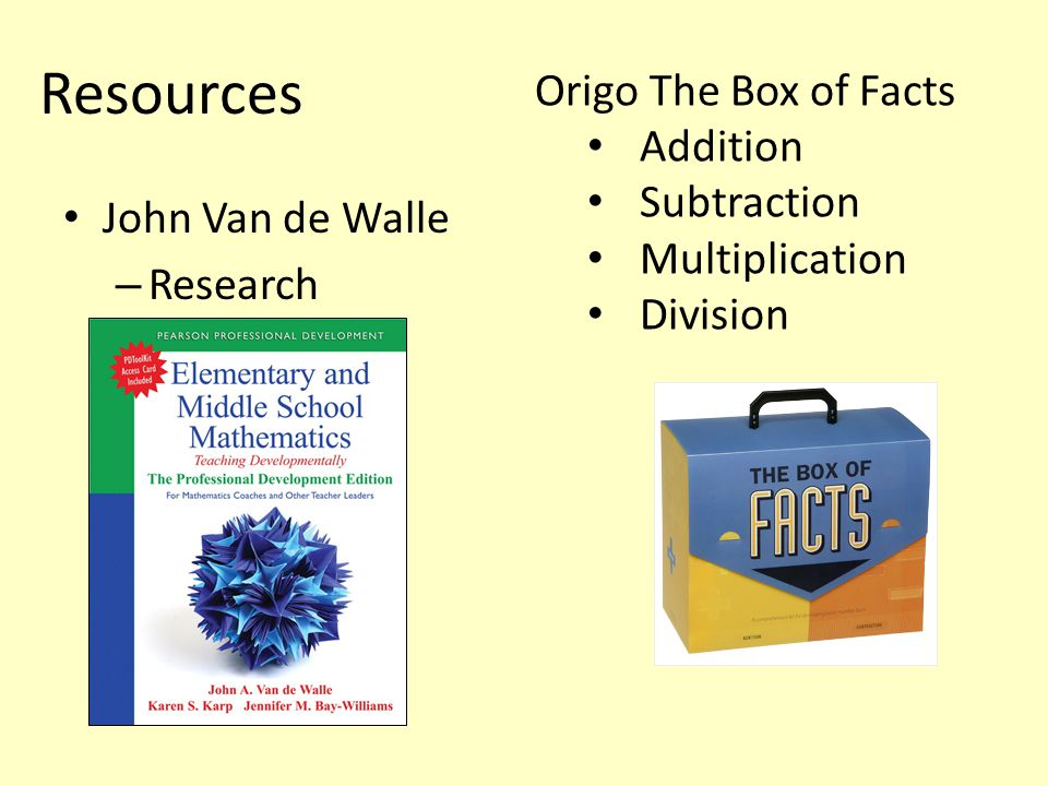 Resources John Van de Walle – Research Origo The Box of Facts Addition Subtraction Multiplication Division