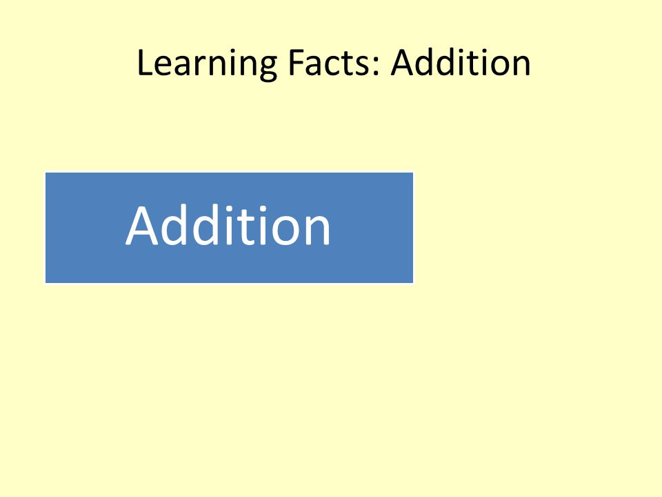 Learning Facts: Addition Addition