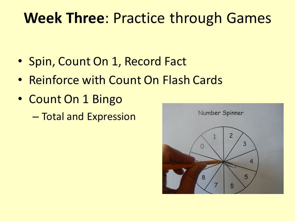 Week Three: Practice through Games Spin, Count On 1, Record Fact Reinforce with Count On Flash Cards Count On 1 Bingo – Total and Expression