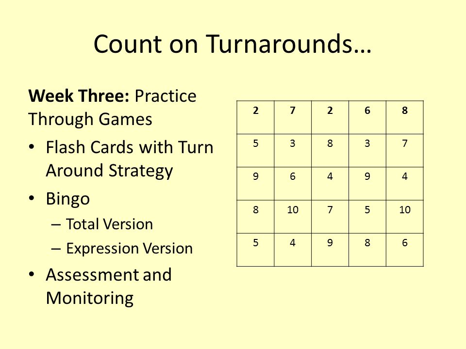 Count on Turnarounds… Week Three: Practice Through Games Flash Cards with Turn Around Strategy Bingo – Total Version – Expression Version Assessment a