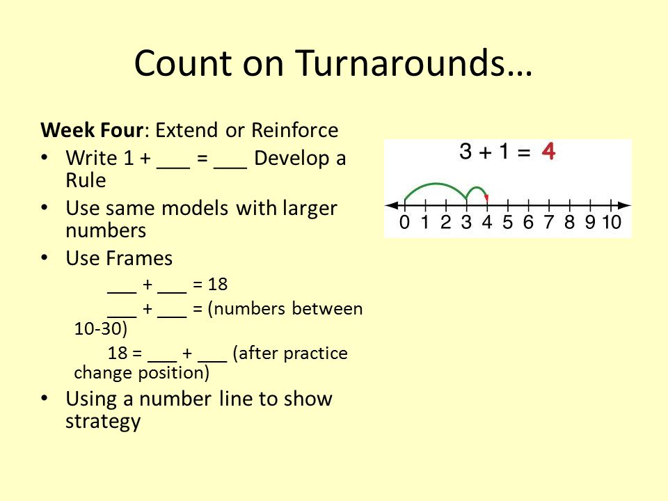 Count on Turnarounds… Week Four: Extend or Reinforce Write 1 + ___ = ___ Develop a Rule Use same models with larger numbers Use Frames ___ + ___ = 18 ___ + ___ = (numbers between 10-30) 18 = ___ + ___ (after practice change position) Using a number line to show strategy