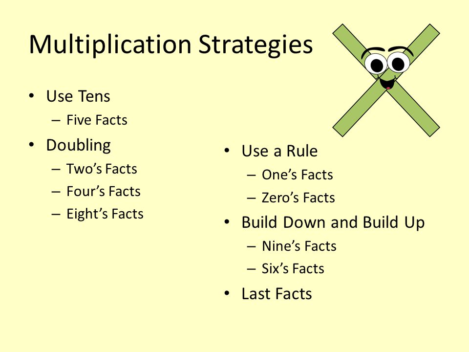 Multiplication Strategies Use Tens – Five Facts Doubling – Two's Facts – Four's Facts – Eight's Facts Use a Rule – One's Facts – Zero's Facts Build Do