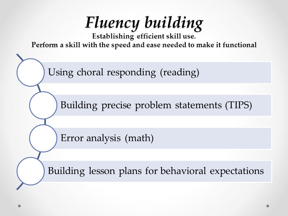 Fluency building Establishing efficient skill use. Perform a skill with the speed and ease needed to make it functional Using choral responding (readi