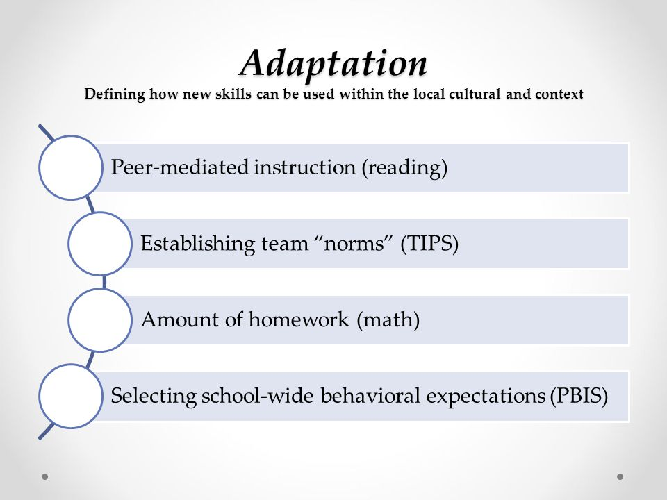 Adaptation Defining how new skills can be used within the local cultural and context Peer-mediated instruction (reading) Establishing team norms (TIPS) Amount of homework (math) Selecting school-wide behavioral expectations (PBIS)