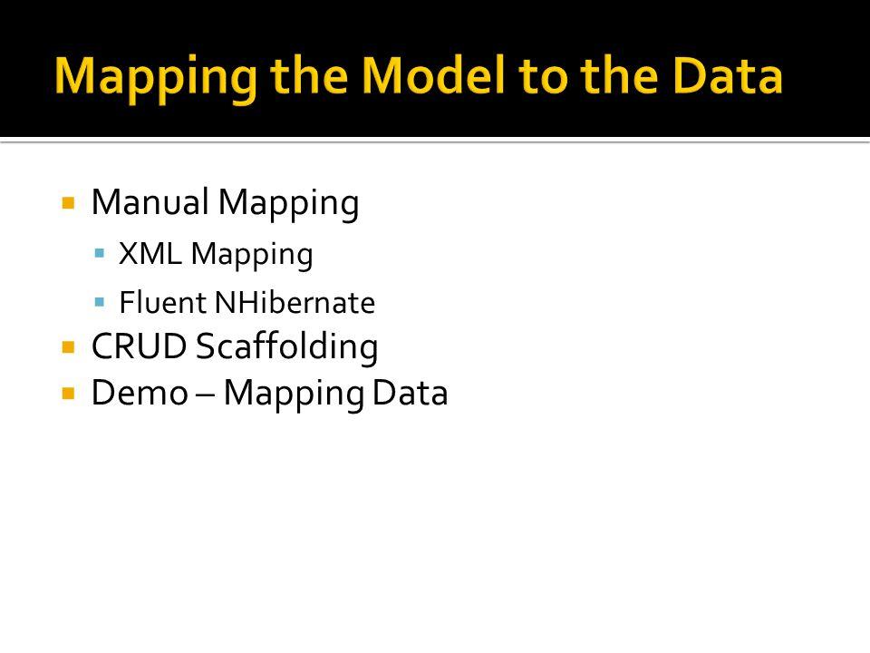  Manual Mapping  XML Mapping  Fluent NHibernate  CRUD Scaffolding  Demo – Mapping Data