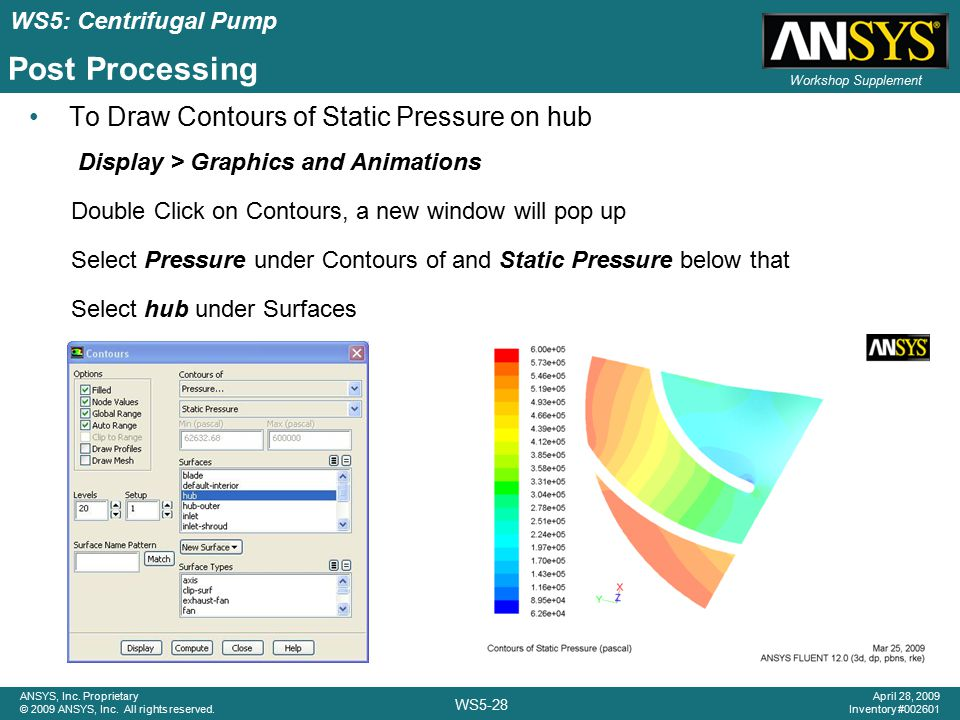 ANSYS, Inc. Proprietary © 2009 ANSYS, Inc. All rights reserved. Workshop Supplement WS5-28 April 28, 2009 Inventory #002601 WS5: Centrifugal Pump Post
