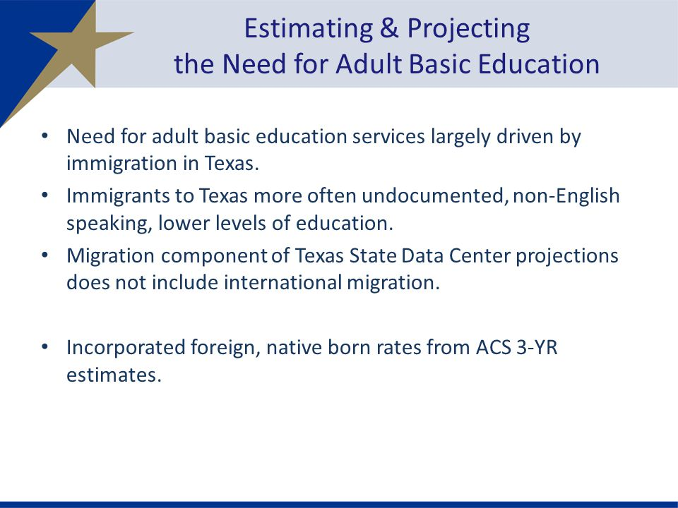 Need for adult basic education services largely driven by immigration in Texas.