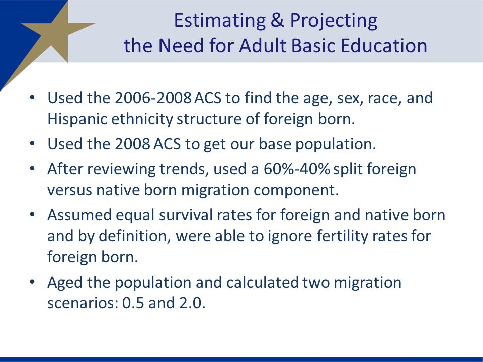 Used the 2006-2008 ACS to find the age, sex, race, and Hispanic ethnicity structure of foreign born.