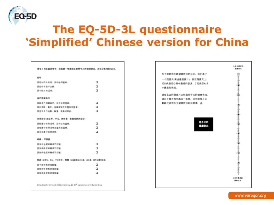 The EQ-5D-3L questionnaire 'Simplified' Chinese version for China