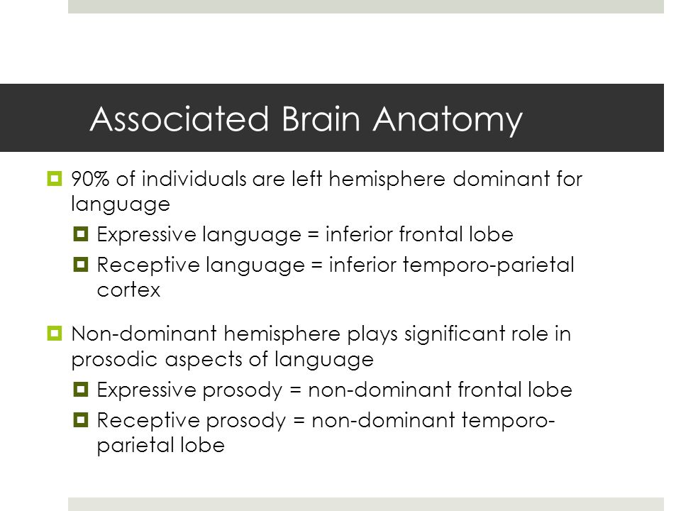 Associated Brain Anatomy  90% of individuals are left hemisphere dominant for language  Expressive language = inferior frontal lobe  Receptive language = inferior temporo-parietal cortex  Non-dominant hemisphere plays significant role in prosodic aspects of language  Expressive prosody = non-dominant frontal lobe  Receptive prosody = non-dominant temporo- parietal lobe