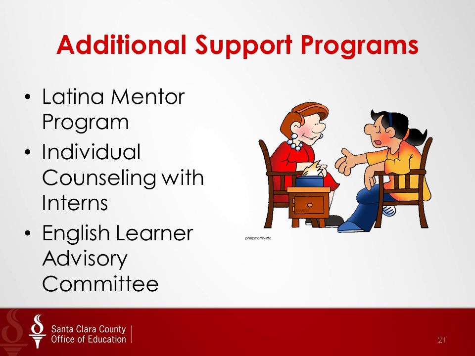 Additional Support Programs Latina Mentor Program Individual Counseling with Interns English Learner Advisory Committee 21