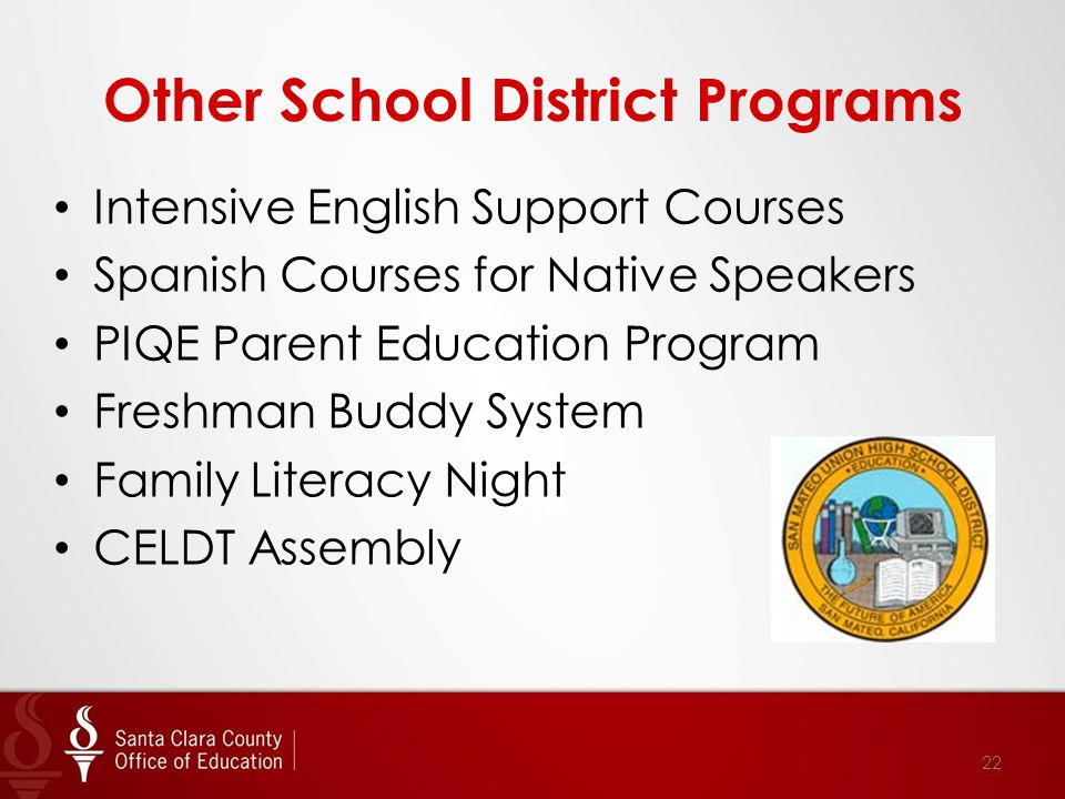 Other School District Programs Intensive English Support Courses Spanish Courses for Native Speakers PIQE Parent Education Program Freshman Buddy System Family Literacy Night CELDT Assembly 22