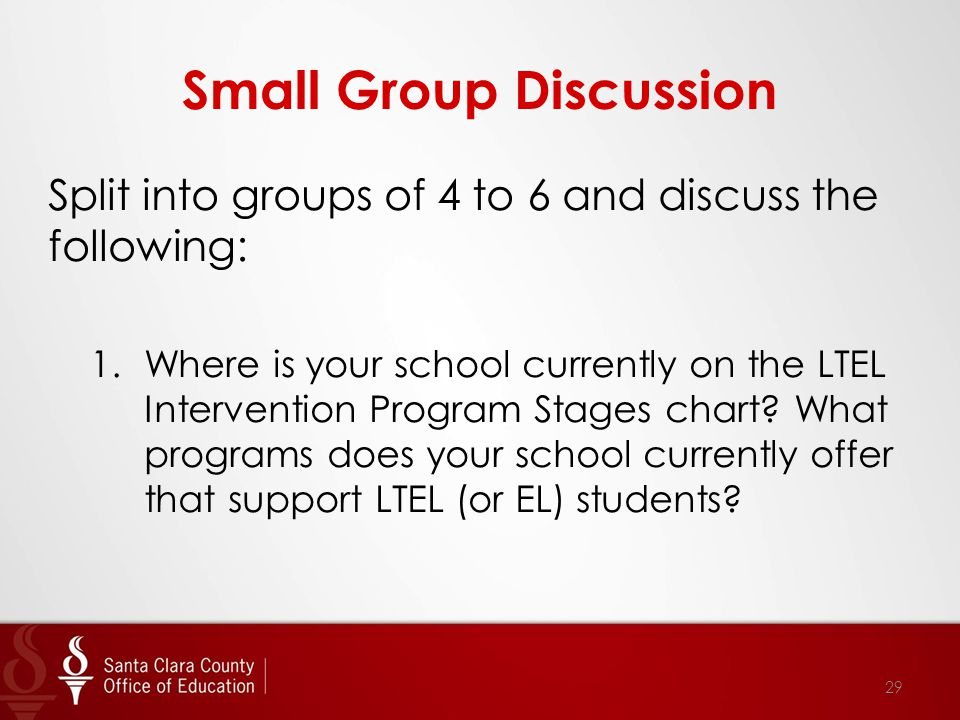 Small Group Discussion Split into groups of 4 to 6 and discuss the following: 1.Where is your school currently on the LTEL Intervention Program Stages chart.