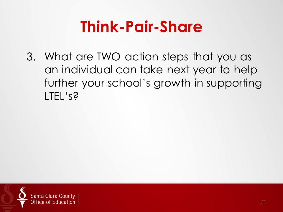 Think-Pair-Share 3.What are TWO action steps that you as an individual can take next year to help further your school's growth in supporting LTEL's.
