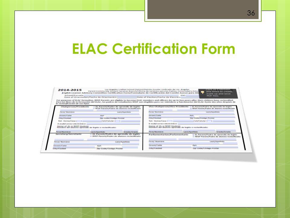 36 ELAC Certification Form