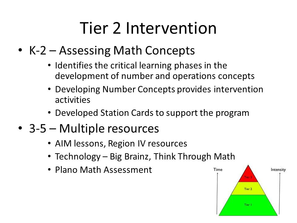 Tier 2 Intervention K-2 – Assessing Math Concepts Identifies the critical learning phases in the development of number and operations concepts Developing Number Concepts provides intervention activities Developed Station Cards to support the program 3-5 – Multiple resources AIM lessons, Region IV resources Technology – Big Brainz, Think Through Math Plano Math Assessment