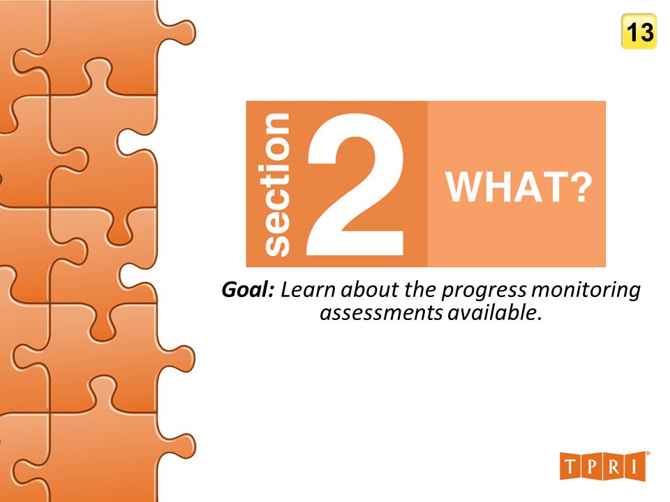 SECTION 2: WHAT? Goal: Learn about the progress monitoring assessments available. 13