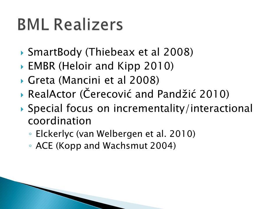  SmartBody (Thiebeax et al 2008)  EMBR (Heloir and Kipp 2010)  Greta (Mancini et al 2008)  RealActor (Čerecović and Pandžić 2010)  Special focus on incrementality/interactional coordination ◦ Elckerlyc (van Welbergen et al.
