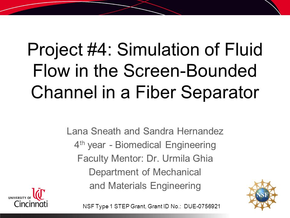 Project #4: Simulation of Fluid Flow in the Screen-Bounded Channel in a Fiber Separator Lana Sneath and Sandra Hernandez 4 th year - Biomedical Engineering Faculty Mentor: Dr.