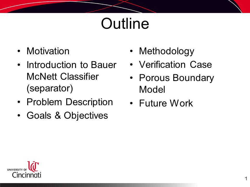 Outline Motivation Introduction to Bauer McNett Classifier (separator) Problem Description Goals & Objectives Methodology Verification Case Porous Boundary Model Future Work 1