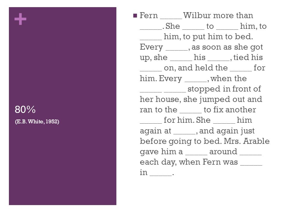 + 80% Fern _____ Wilbur more than _____. She _____ to _____ him, to _____ him, to put him to bed. Every _____, as soon as she got up, she _____ his __