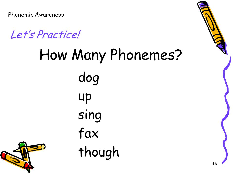 15 How Many Phonemes? dog up sing fax though Phonemic Awareness Let's Practice!