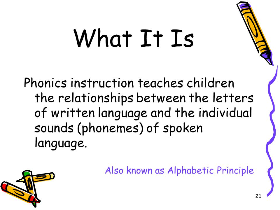 21 What It Is Phonics instruction teaches children the relationships between the letters of written language and the individual sounds (phonemes) of spoken language.