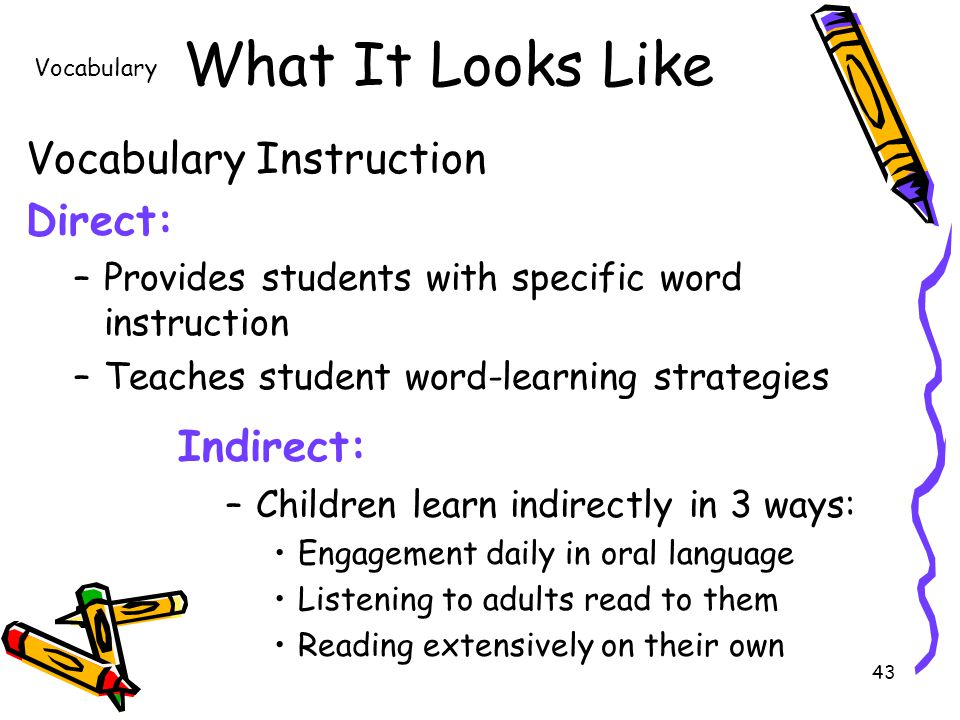 43 What It Looks Like Vocabulary Instruction Direct: –Provides students with specific word instruction –Teaches student word-learning strategies Vocabulary Indirect: –Children learn indirectly in 3 ways: Engagement daily in oral language Listening to adults read to them Reading extensively on their own