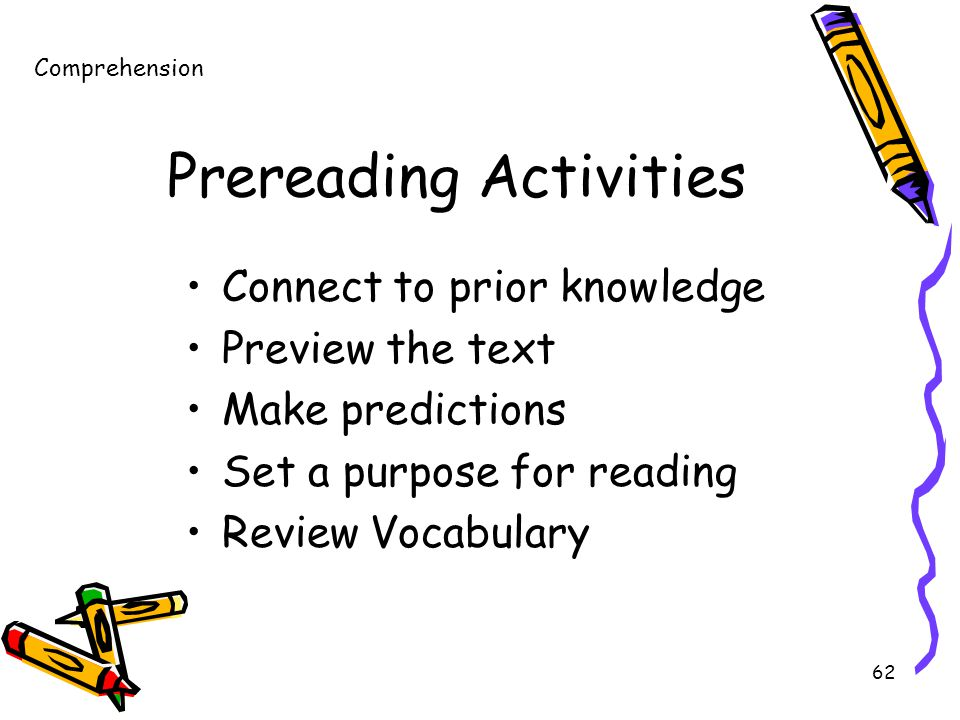 62 Prereading Activities Connect to prior knowledge Preview the text Make predictions Set a purpose for reading Review Vocabulary Comprehension