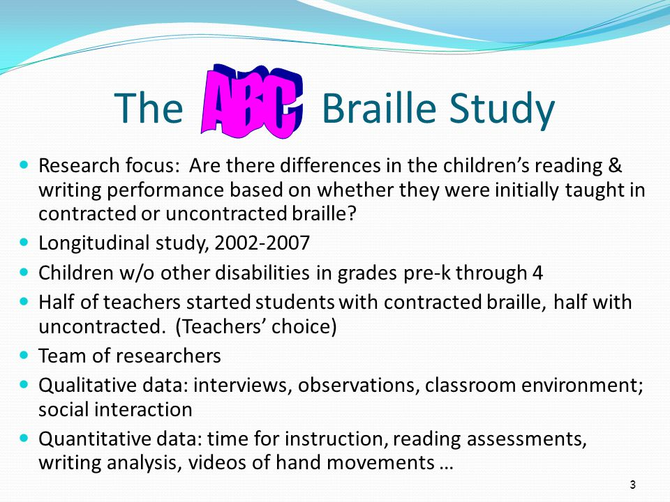 The National Reading Panel & the Reading First Initiative Reading First AreaABC Braille Study Assessment Phonemic AwarenessTPRI ( Texas Primary Reading Inventory) Phonics (Decoding / Spelling) TPRI; Brigance (Spelling) Johns Basic Reading Inventory (BRI) FluencyJohns BRI VocabularyBrigance ComprehensionJohns BRI