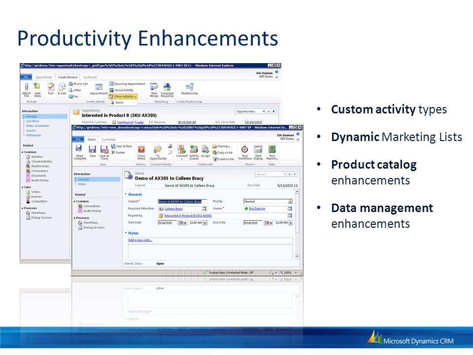 Productivity Enhancements Custom activity types Dynamic Marketing Lists Product catalog enhancements Data management enhancements