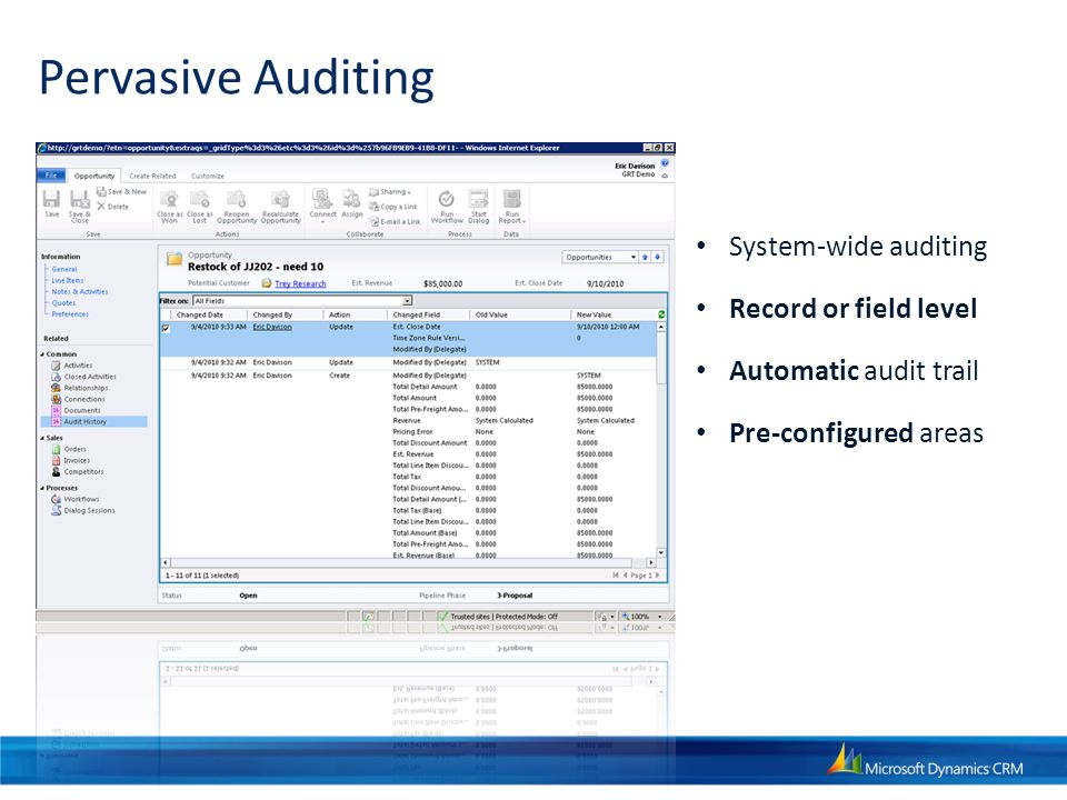 Pervasive Auditing System-wide auditing Record or field level Automatic audit trail Pre-configured areas