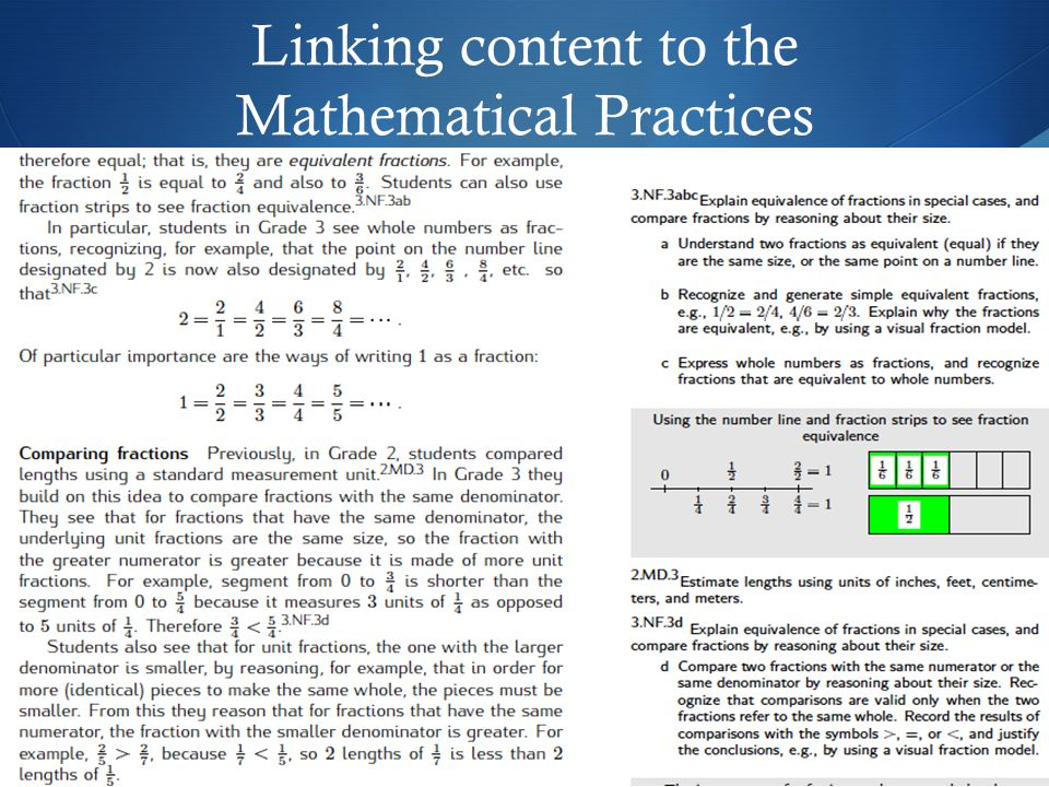 Linking content to the Mathematical Practices
